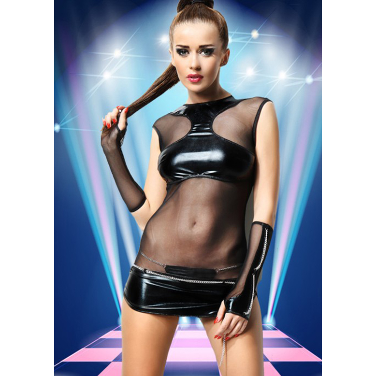 Sexy Black PVC Mesh See-through Lingerie N11569