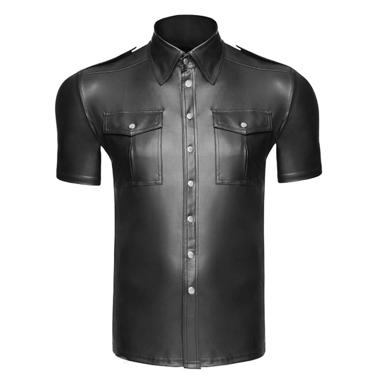 Men's Sexy Glossy PVC Tight-fitting Lapel Short Sleeve Stretchy Clubwear T-shirt N19000