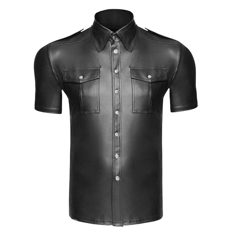 Men's Sexy Glossy PVC Tight-fitting Lapel Short Sleeve Stretchy Clubwear T-shirt N19000