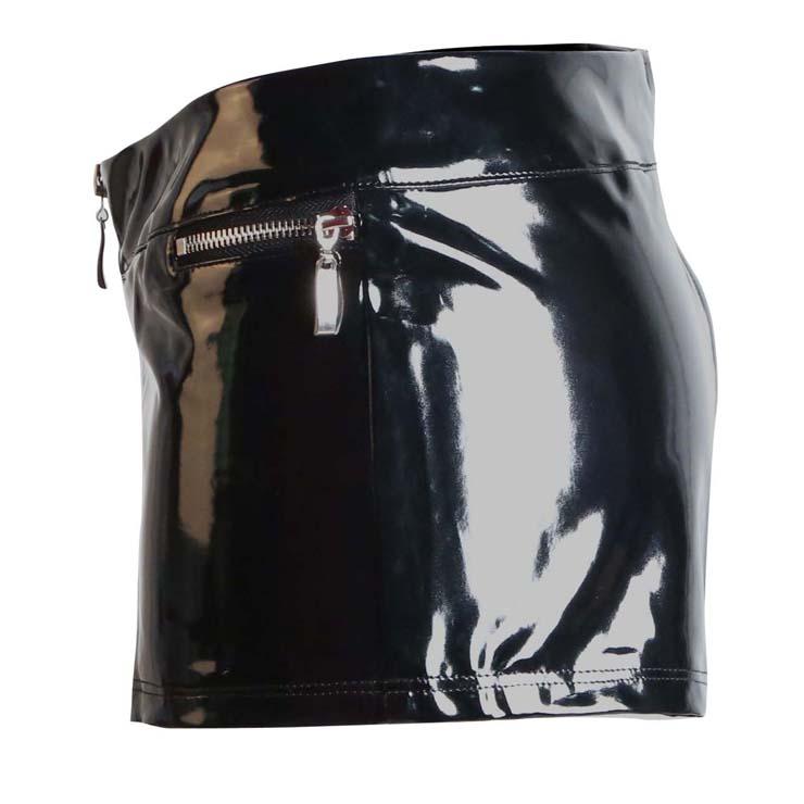 Black Short Woman, Fashion PVC Shorts, Plus Size Shorts, Summer Zip Shorts, #N10967