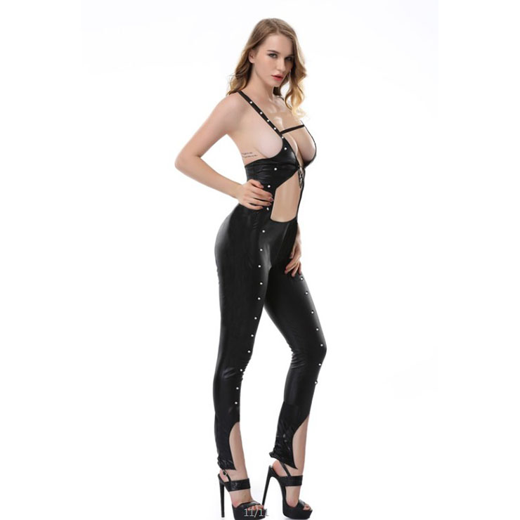 Sexy Women's Black PU Spaghetti Straps Stretchy Bandage Backless Rivet Jumpsuits N20539