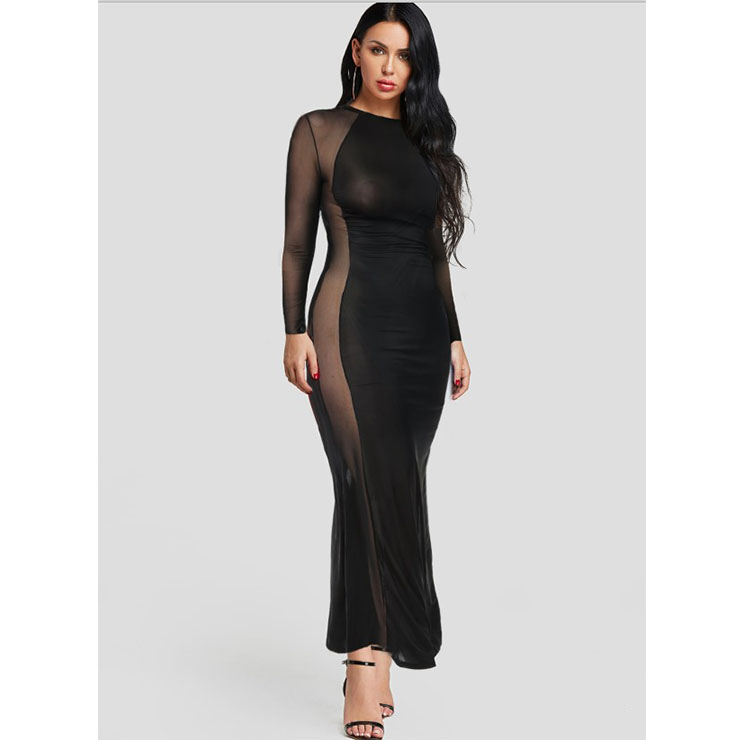 Sexy See-through Mesh and Chiffon Gown Stretchy  Long Sleeve Ankle Length Evening Dress N19148