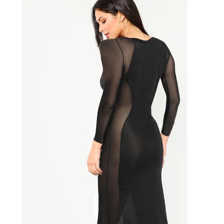 Sexy See-through Long Gown, Cheap Black Clubwear Long Dress, Women