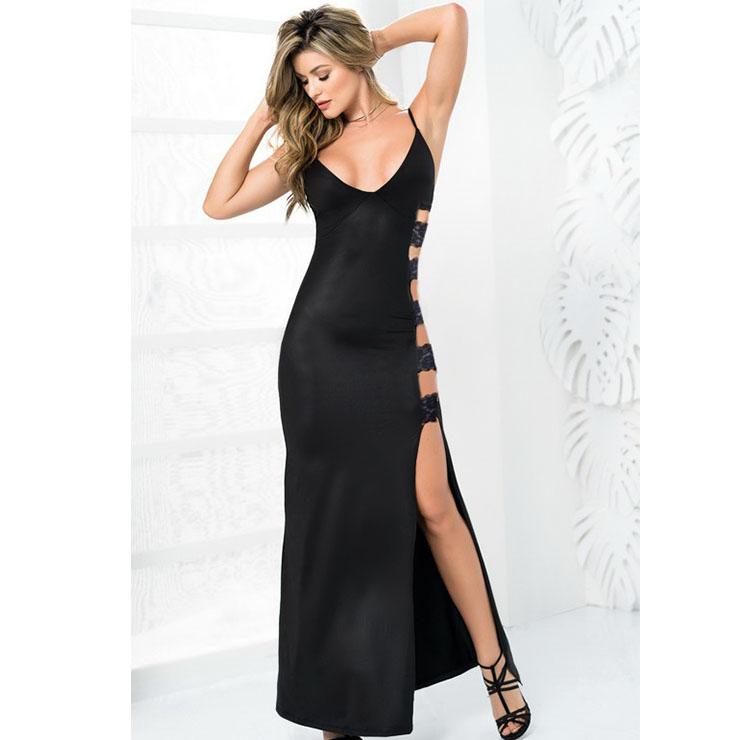 Sexy Spaghetti Straps Low-cut Side Bandage Hollow Out Longline Side Split Evening Dress N19008