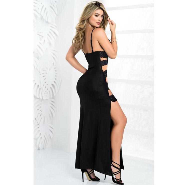 Sexy Lace-up Long Gown, Cheap Black Clubwear Long Dress, Women