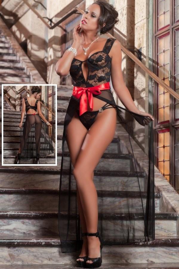Sexy Black Gown Lingerie, Sexy Black Straps Lace Lingerie,  Cheap Split-Front Lingerie,  #N10027