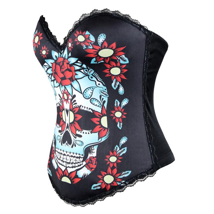 Sexy Black Lace Corset, Black Halloween Costume Corset,  Skull Halloween Costume Corset for Women, #N11203