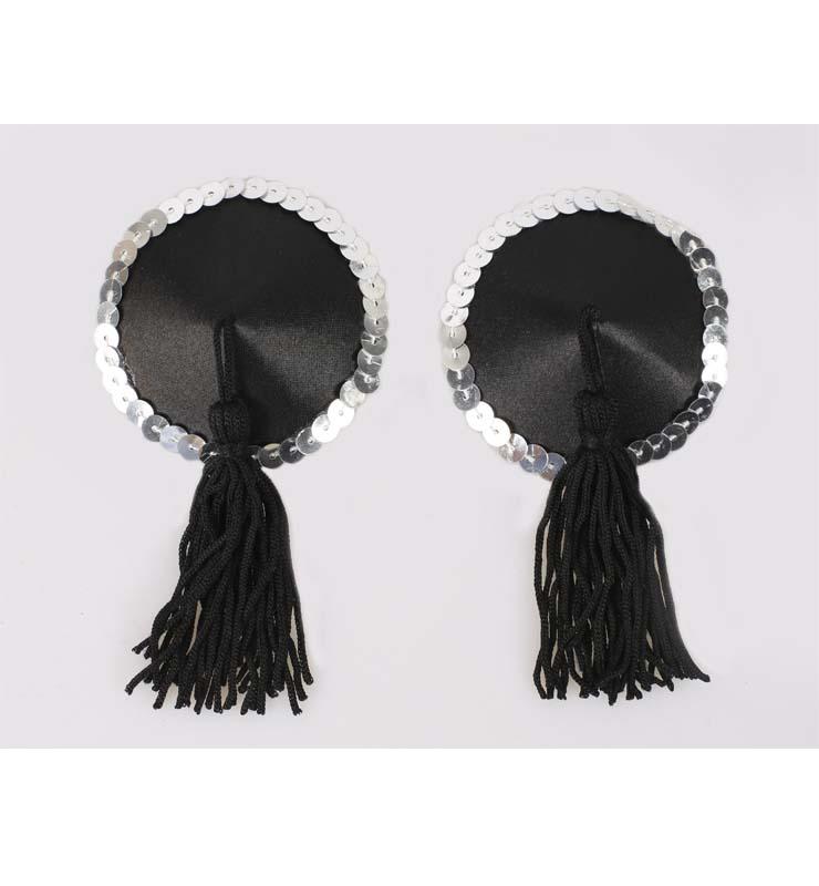 Sexy Black Tassel Sequin Round Pasties MS9558