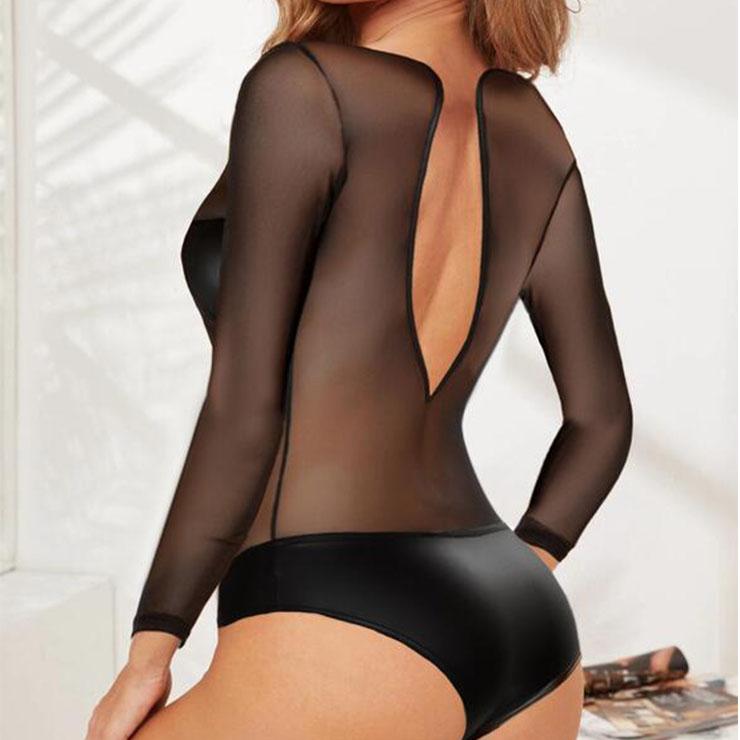 Sheer Black Mesh Teddy Lingerie, Sexy Black Teddy Lingerie,  Mesh Bodysuit Lingerie, Valentine