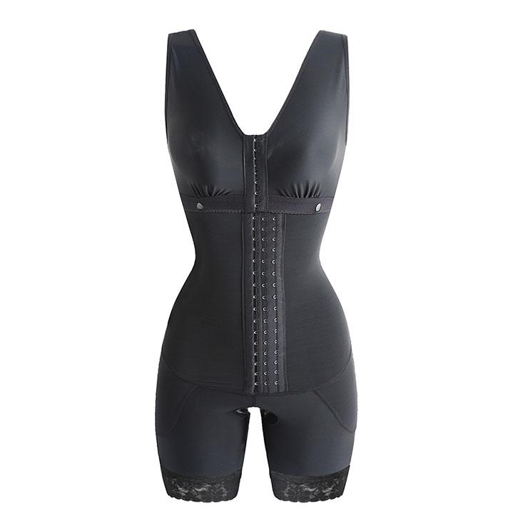 Sexy Black V Neck Breasted Body Shaper Bustiers Elastic Slimming Bodysuit N20867