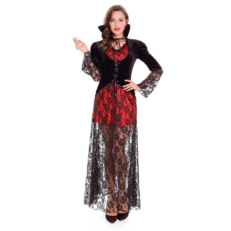 Sexy Vampire Vixen Costume, Long Vampire Costume, Female Vampire Halloween Costume, Black Vidow Vampire Costume, #N14620