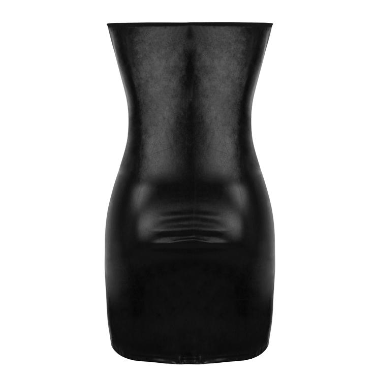 PVC Leather Bodycon Dress, Clubwear Strapless Bodycon Dresses, Fashion Black Mini Dress, Cheap PVC Mini Dress, Sexy Black Mini Dress, Strapless Black PVC Bodycon Dress, #N16597