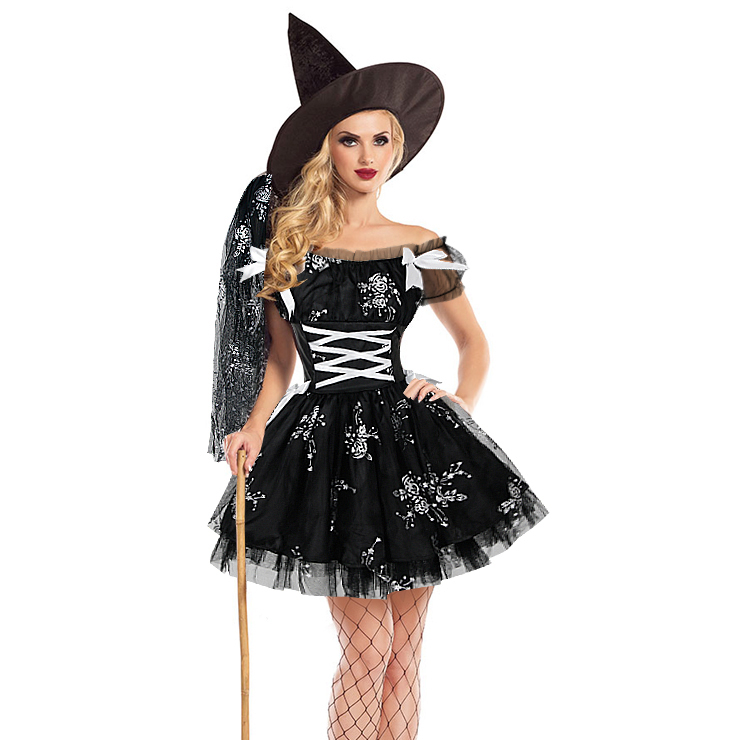 Sexy Black Witch Off-shoulder Mini Dress Adult Halloween Cosplay Costume N18197