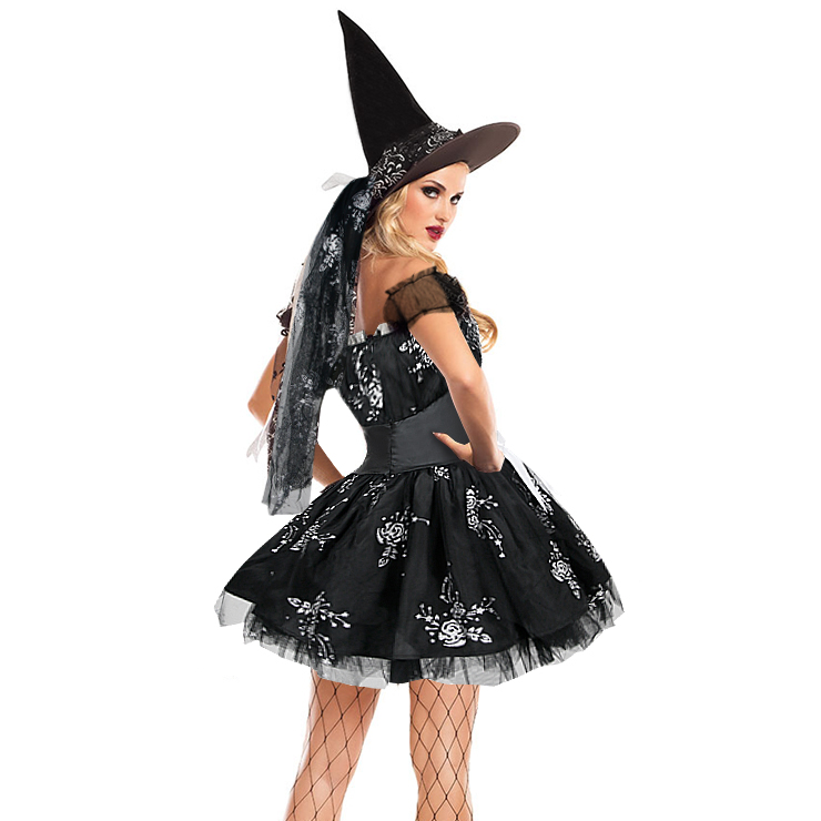 Sexy Black Witch Off Shoulder Mini Dress Adult Halloween Cosplay
