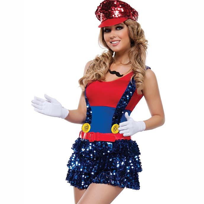 sexy block jumping plumber costume n11118