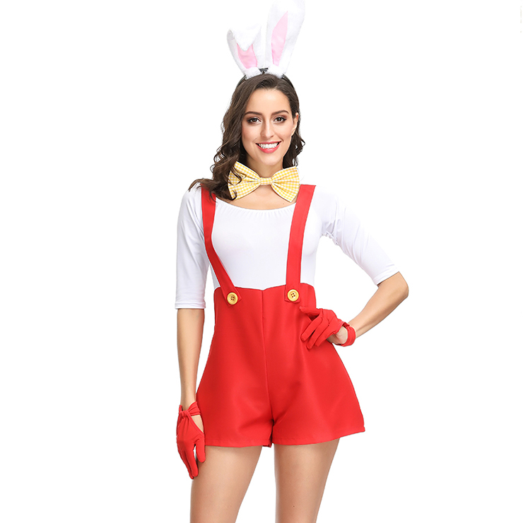 4pcs Adorable Women's Bunny Girl Braces Overalls Halloween Rabbit Masquerade Costume N19151