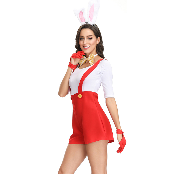 Sexy Bunny Girl Costume, Sexy Red Plumber Costume, Video Game Costumes, Adult Animals Braces Overalls Costume, Adult Rabbit Halloween Costume, #N19151