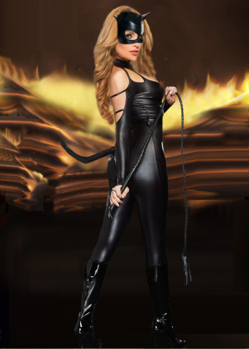 Cheap Black Faux Leather Costume Women & Sexy Cat Fight Costume N11058