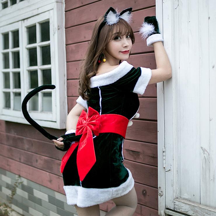 Sexy Christmas Costume, Green Velet Christmas Costume, Christmas Costume for Women, Cute Christmas Skirt, Miss Santa