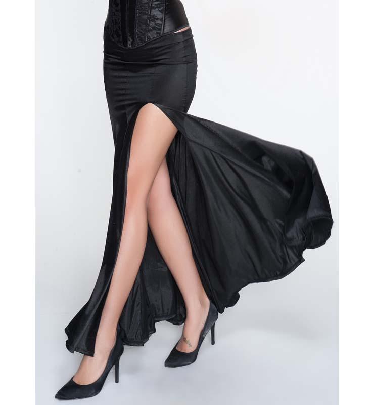 Sexy black pleated skirt high fashion side split skirts woman all the borizcustom