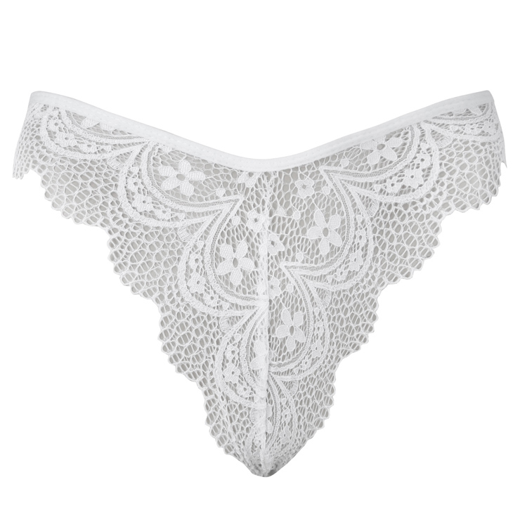 Sexy White Lace Underwear, High Waist Panty for Women, White Hollow Out Panty, Lace Hollow Out Panty, Sexy See-through Panty, #PT16440