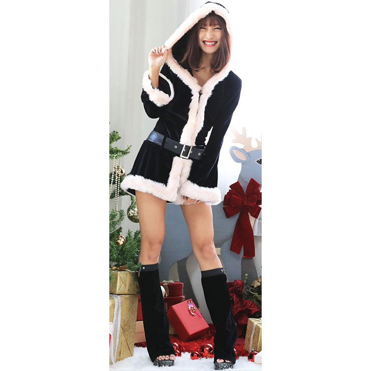 Hooded Velvet Mini Dress, Mini Dress Velvet, Hooded Santa Dress, Hooded Christmas Dress, Sexy Christmas Costume, Christmas Mini Dress, Christmas Long Sleeves Dress #XT18627