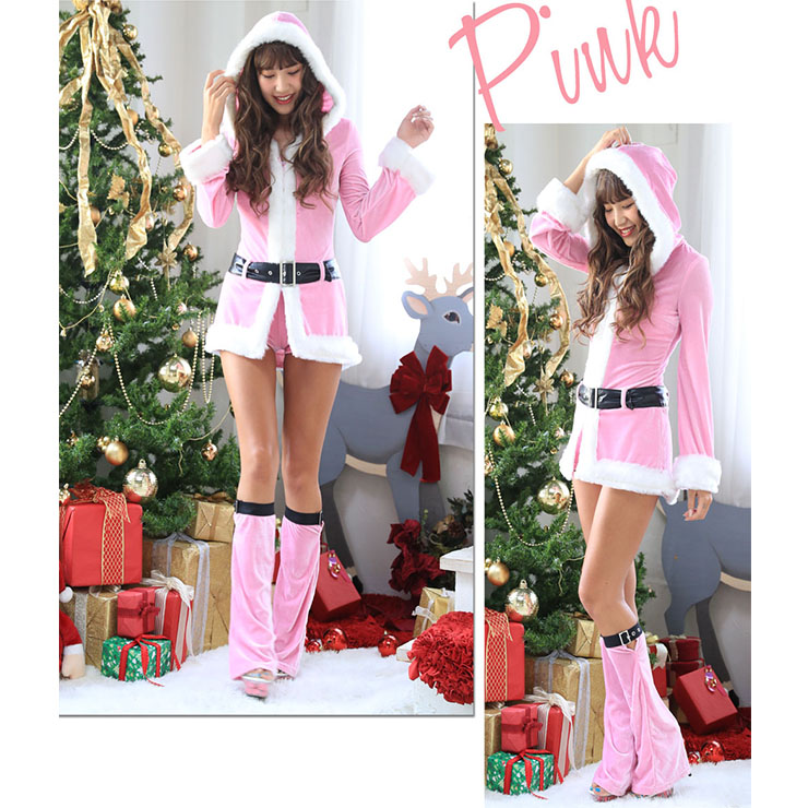 Sexy Women's Christmas Pink Hooded Long Sleeves Velvet Mini Dress XT18626