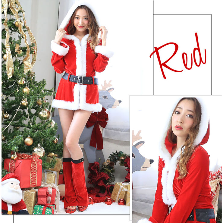 Sexy Women's Christmas Red Hooded Long Sleeves Velvet Mini Dress XT18625