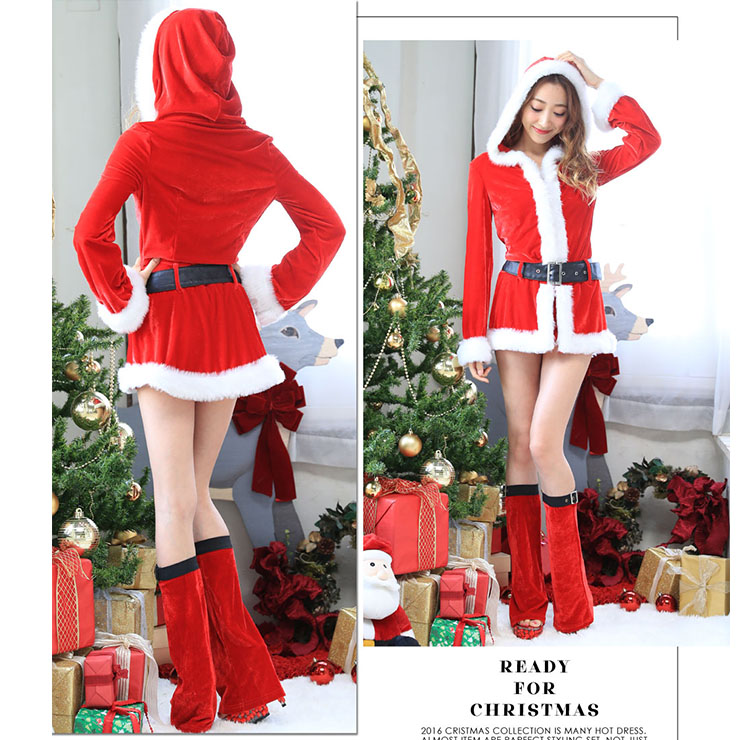 Hooded Velvet Mini Dress, Mini Dress Velvet, Hooded Santa Dress, Hooded Christmas Dress, Sexy Christmas Costume, Christmas Mini Dress, Christmas Long Sleeves Dress #XT18625
