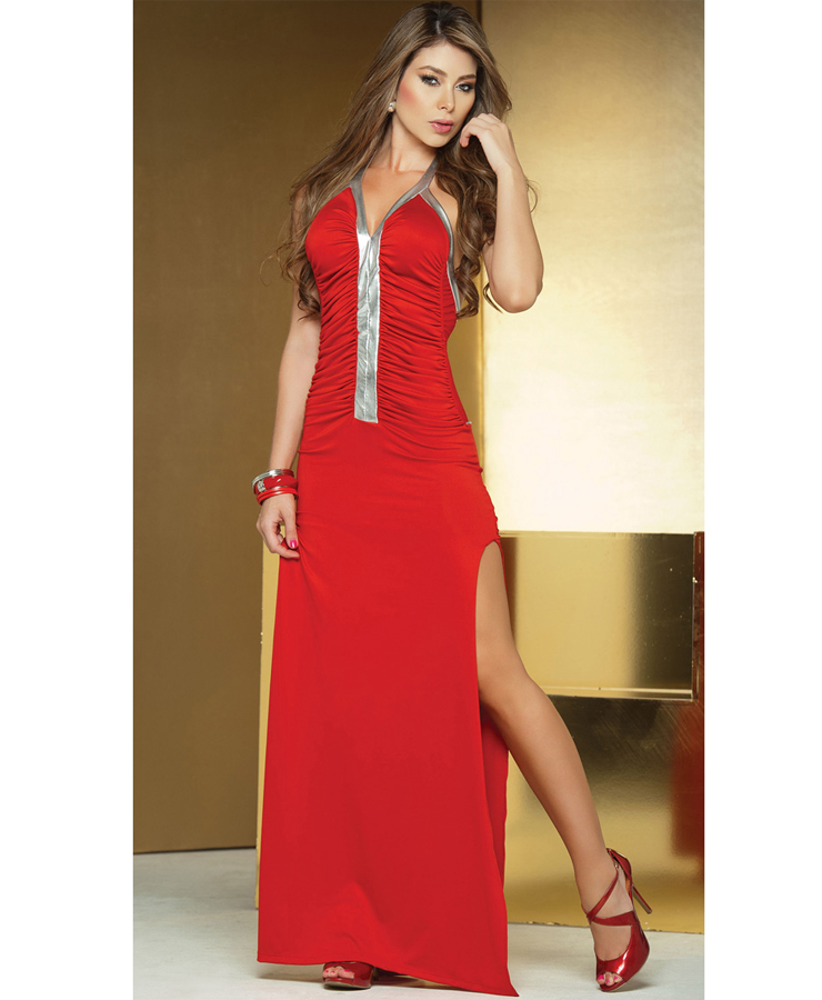Long Metallic Detail Gown W2195