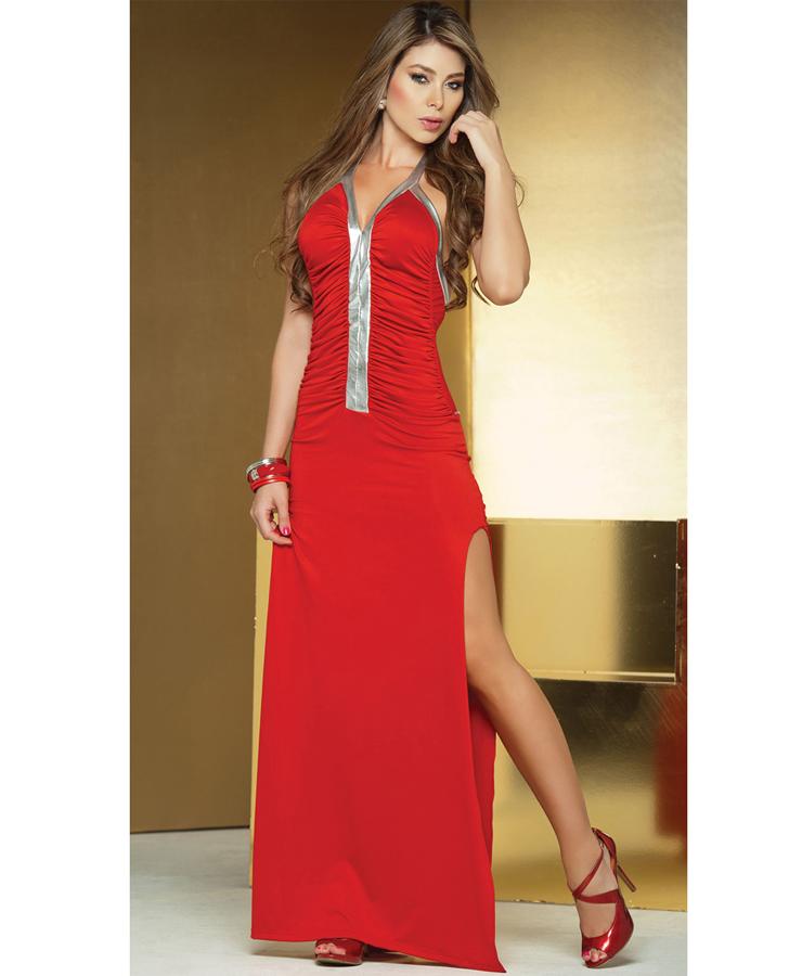 Long Metallic Detail Gown W2195