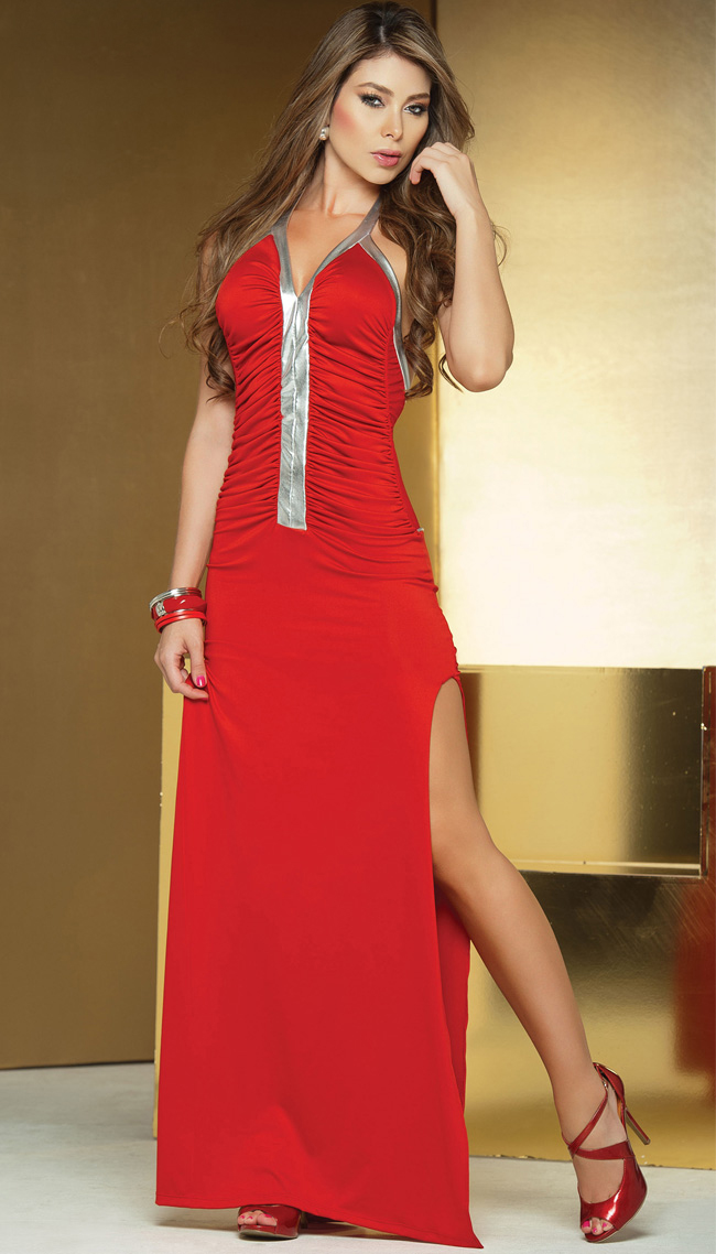Long Metallic Detail Gown, Red Gown, Long Gown, #W2195