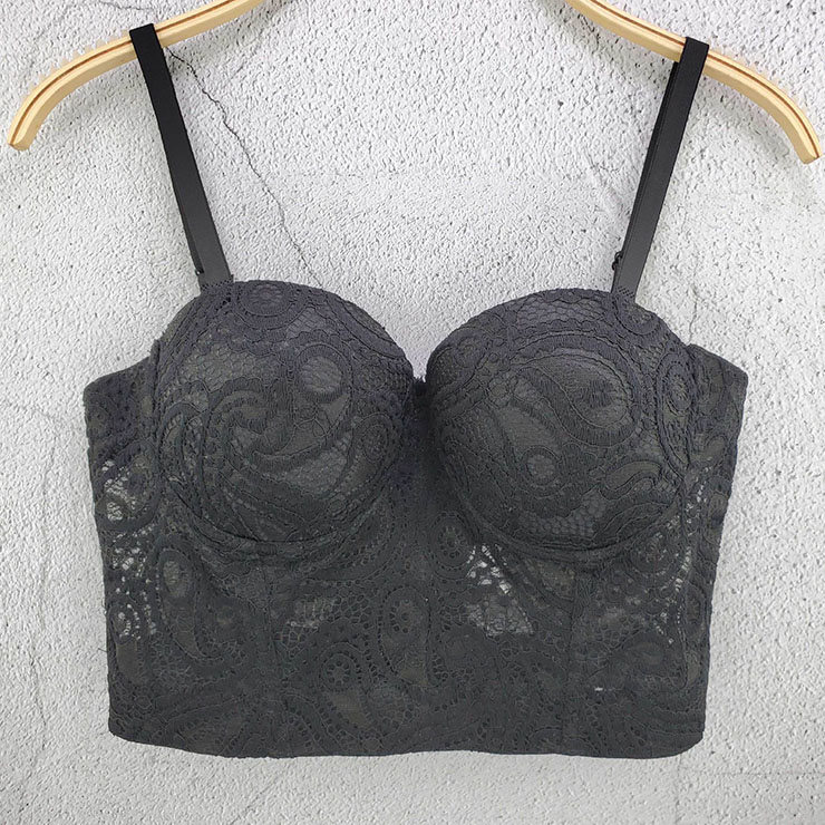 Sexy Black Hollow Hook Flower Short Bustier Spaghetti Straps Bra Clubwear Crop Tops N20614
