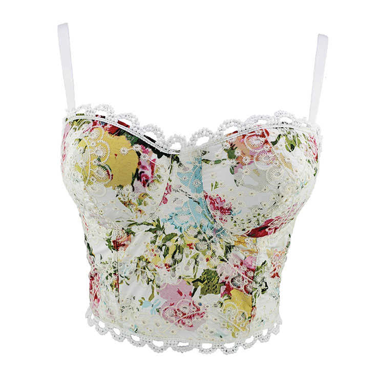 Sexy Floral Print Padded Underwire Bustier Spaghetti Straps Lace Bra Clubwear Crop Tops N20615