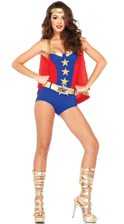 Cartoon Character Costume, Superhero Romper Costume, Sexy Halloween Costume, Women