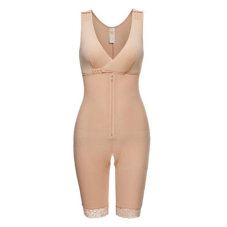 Sexy Complexion V Neck Bodysuit Zipper Shapewear Elastic Breasted Slimming Shapewear N20403
