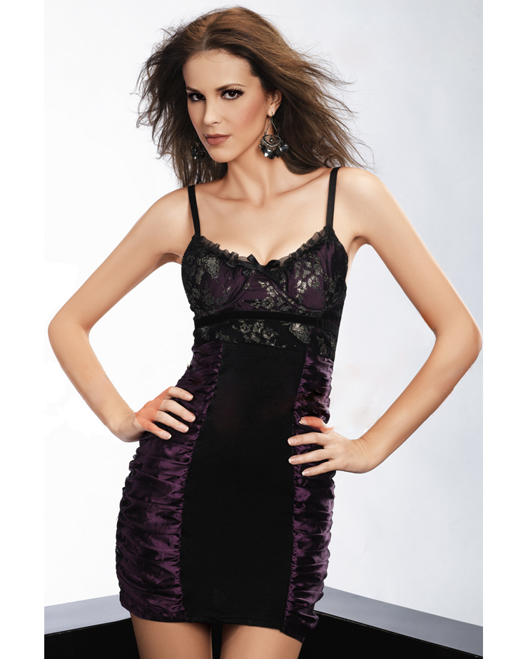 4850fb69a3a Sexy Black and Purple Ruffle Patchwork Floral Lace Spaghetti Straps Mini  Dress Chemise N2647