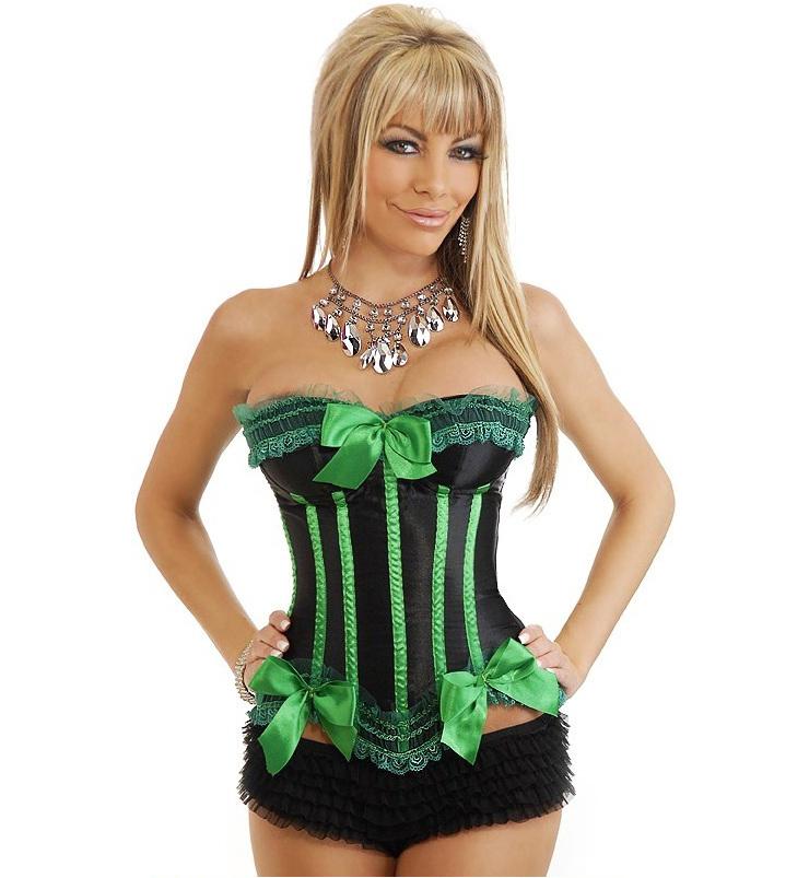 337392d289 Elegant Lace Black and Green Bowknots Overbust Corset M1296
