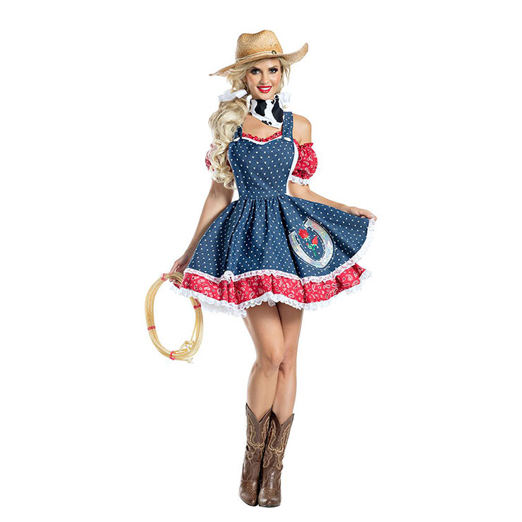 Sexy Cowboy Girl Polka Dots Suspenders Mini Dress Adult Cosplay Costume With Hat N20988