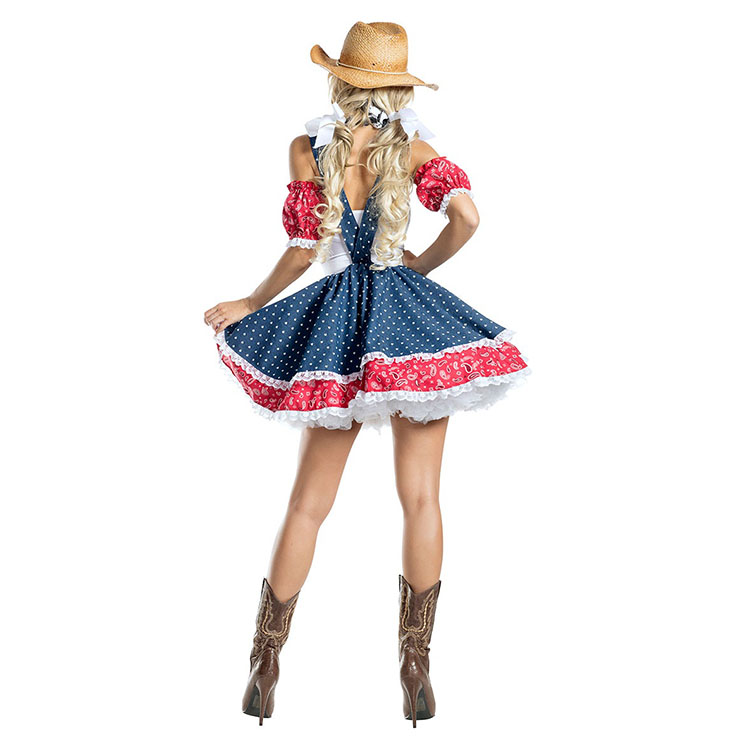 Adult Cowboy Girl Halloween Costume, Sexy Cowboy Girl Suspenders Mini Dress Costume, Cowboy Girl Costume, Polka Dots Cowboy Girl Costume, Cowboy Girl Costume With Hat, #N20988