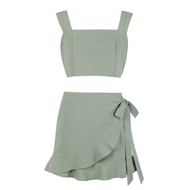 Sexy Crop Top Skirt Sets, Daily Casual Mini Skirt Sets, Sling Tops for Women, Sexy OL Wrap Skirt Sets, Cute Women Sweet Tank Top, Sexy Bean-green Skirt Sets, Sexy Mini Wrap Skirt Sets, #20624