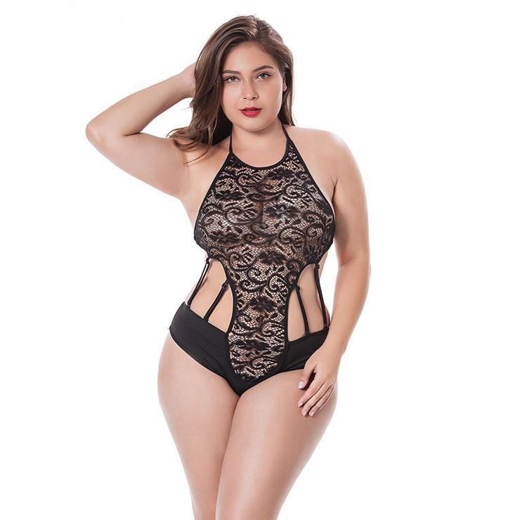 022de46f79 Sexy Black Halter Cut Out Strappy Lace Plus Size Bodysuit Teddy Lingerie  N17478