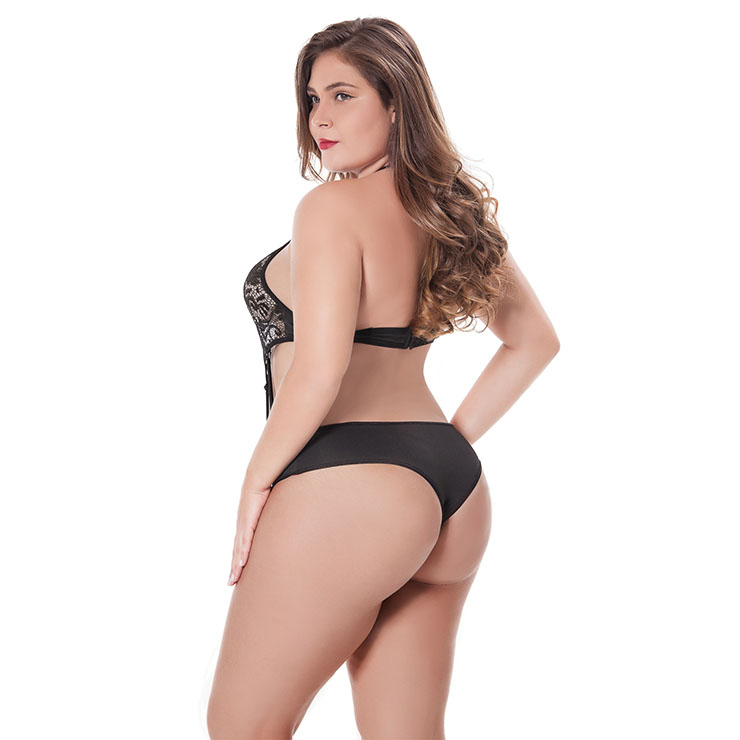a7b9724fe Sexy Black Halter Cut Out Strappy Lace Plus Size Bodysuit Teddy Lingerie  N17478