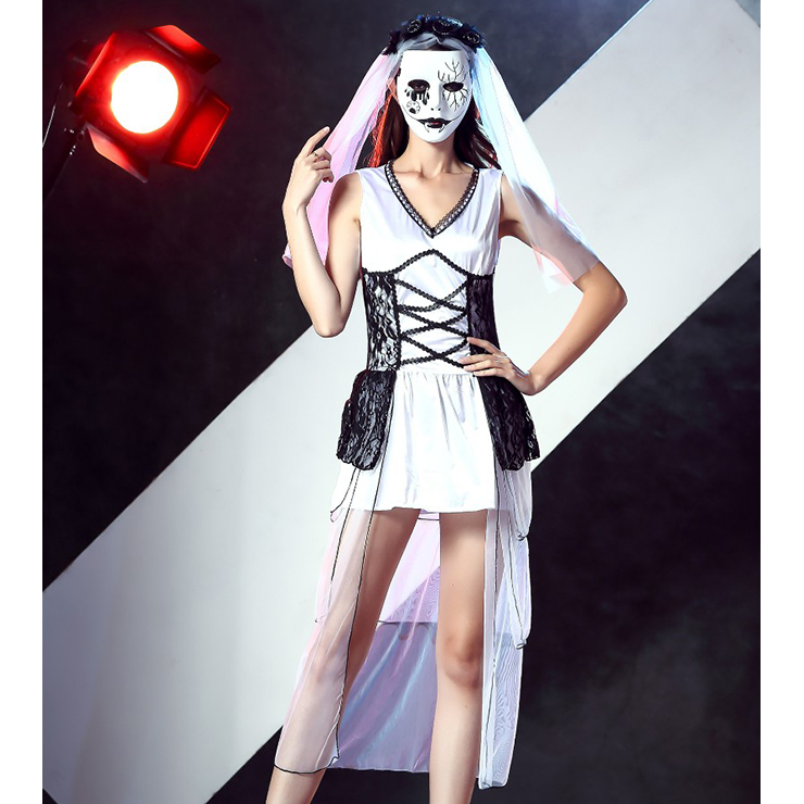 Day of the Dead Costume, Cheap Halloween Costume, Bride Costume, #N12005
