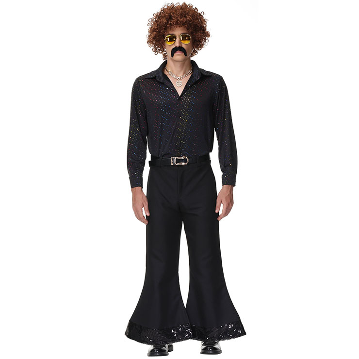 Men's 70s Disco Dancing King T-shirt and Bell-bottoms Adult Halloween Cosplay Outfit Costume N21513