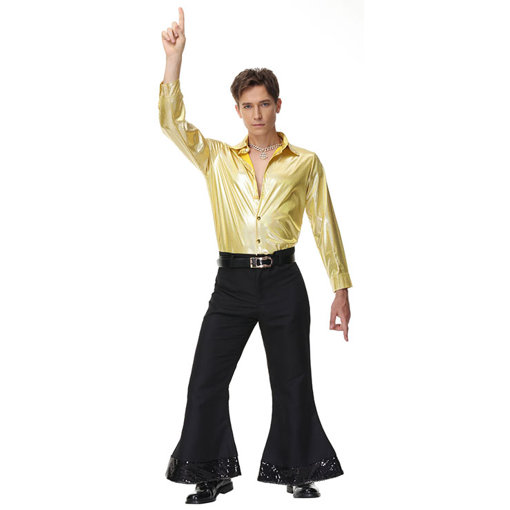 Men's 70s Disco Dancing King Shiny Shirt Bell-bottoms Outfit Masquerade Cosplay Costume N21515