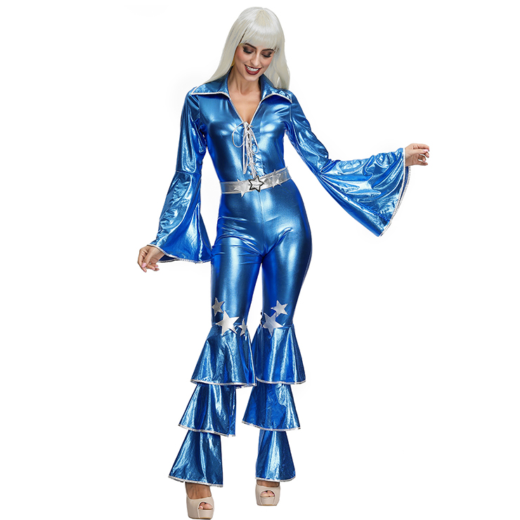 1970s Adult Womens One-piece Disco Dancing Queen Jumpsuit Costume, 70s Disco Theme Party Dacing Costume, Women
