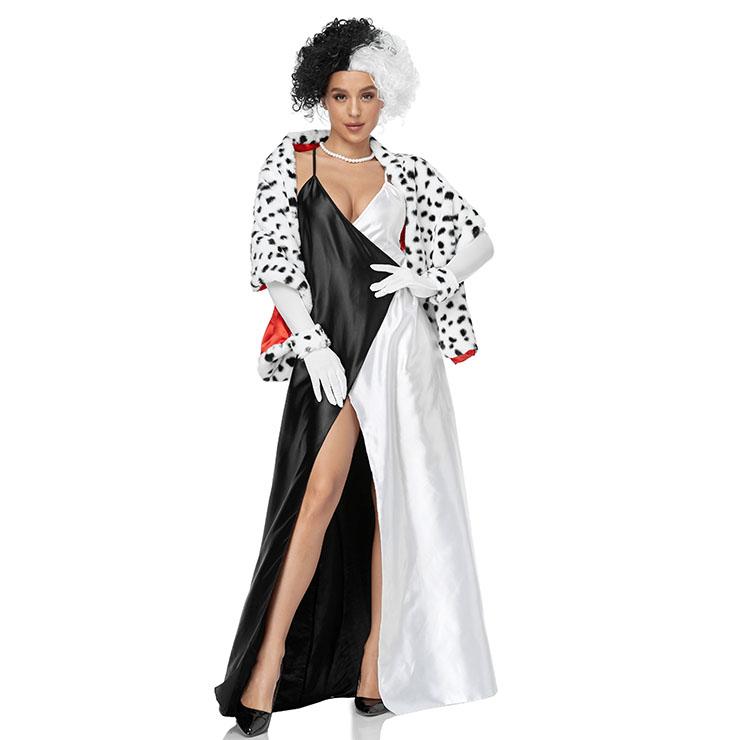 4pcs Sexy Black And White Dalmatians Split Fork Sling Dress Cosplay Halloween Costume N21268
