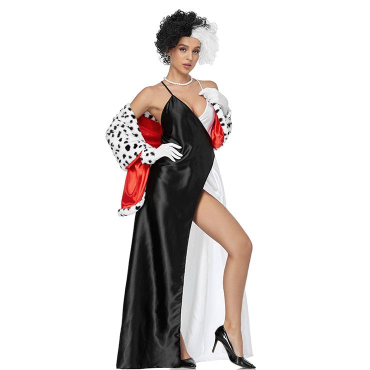 Sexy Disney Cruella Cosplay Costume, Halloween Costume,Halloween Costume for Women,Halloween Black And White Split Fork Sling Dress, Disney Cruella Cosplay Costume, Cosplay Party Dress Set, #N21268