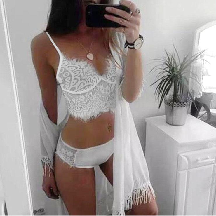 Sexy White Eyelash Trim Floral Lace Crop Top Lingerie N17672